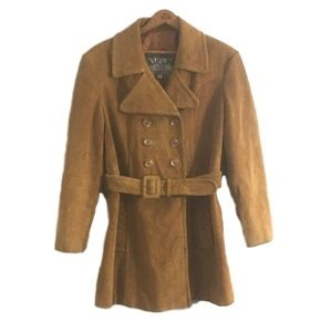 Caramel Brown Suede DOUBLE BREASTED Pea Coat SZ M